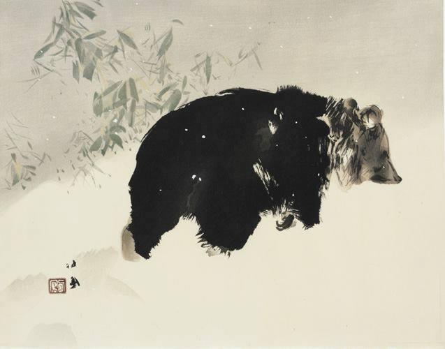 Bear in snow, Takeuchi Seiho, Japan, 1940