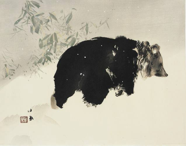 Bear in snow, Takeuchi Seiho, Japan, 1940
